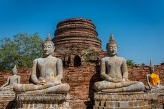 Wat Yai Chai Mongkol in het Historische Park van Ayutthaya Monaster Stock Afbeeldingen