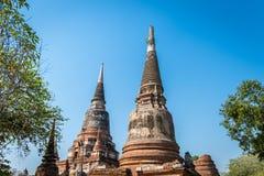 Wat Yai Chai Mongkol in het Historische Park van Ayutthaya Monaster stock foto's