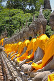 Wat Yai Chai Mongkol tempel, Thailand Arkivfoton