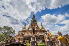 Wat yai chaimongkol, gammal tempel av Ayuthaya, arkivbild