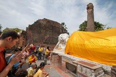 Wat Yai Chaimongkol gammal tempel av det Ayuthaya landskapet, Thailand Arkivfoto