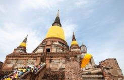 Wat Yai Chaimongkol gammal tempel av det Ayuthaya landskapet, Thailand Royaltyfri Foto