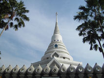 Wat Yannasangwararam Worawiharn. And blue sky in Thailand stock photography
