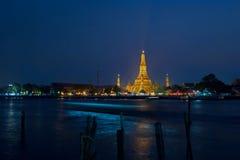 Wata arun przy nocą, Bangkok Obrazy Stock