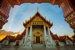 Wata benchamabophit, marmurowa świątynia jeden najwięcej popularnego podróżnego miejsce przeznaczenia w Bangkok Thailand obraz stock
