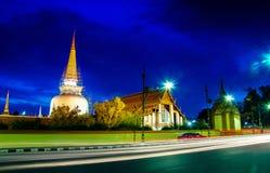 Wata Phra Mahathat Woramahawihan Nakhon Si Thammarat Znacząco miejsca buddyzmu punkt zwrotny obraz stock