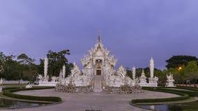 Wata Rong Khun punktu zwrotnego podróży piękny biały świątynny sławny miejsce, popularny Chiang Raja i, Tajlandia w ranku czasie zbiory