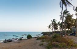 Watamu海滩肯尼亚流浪汉渔小船 图库摄影