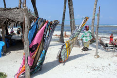 Watamu Beach. A seller of pareos in Watamu Beach Kenya Africa royalty free stock image