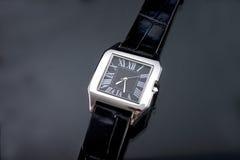 Watch. Luxury man watch on dark blue background royalty free stock photo
