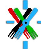 Watch. The Watch neobychnye. varicoloured forks. Vector Royalty Free Stock Image
