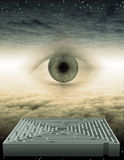 Watch. High Resolution Eye and maze in dream space stock illustration