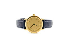 Watch. A female golden wrist watch with leather wristlet Royalty Free Stock Images