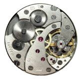 Watch. Opened clockwork of round watch against white backgroud Royalty Free Stock Image