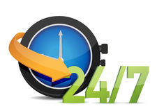 Watch 24/7 Concept. Illustration design over white Stock Images