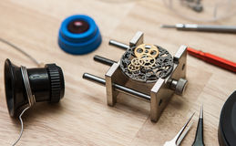Watch. Image of watch movement been assembled Stock Image