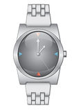 Watch. Grey watch with metallic bracelet isollated over white. Vector illustration Stock Photo