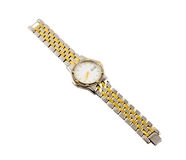 Watch. A silver and gold wrist watch isolated on white with clipping path Royalty Free Stock Photography