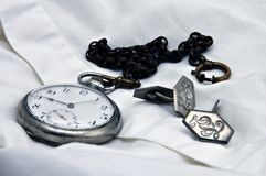 Watch. Old pocket watch with shirt and cuff links Stock Image
