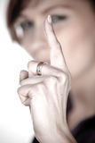 Watch. A women warning with finger Royalty Free Stock Photos