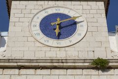 Watch on the ancient tower. Watch on the tower at the island Cres at Adriatic sea royalty free stock images