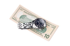 Watch and banknote Stock Images