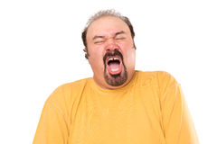 Watch Big Man Sneezing. Big man is getting ready to sneeze, stay away, he is not even covering his mouth. Isolated on white Royalty Free Stock Photography