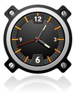 Watch with black dial. A black military-styled watch with three hands Royalty Free Stock Image