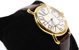 Watch on black pillow Royalty Free Stock Photography