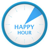 Watch blue arabic happy hour. Plastic shadowed blue clock with text happy hour. Vector illustration Stock Images