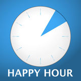 Watch blue arabic happy hour 2. Plastic shadowed blue clock with text happy hour. Vector illustration Royalty Free Stock Images