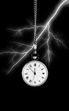 Watch on bolt of lightning background Stock Images