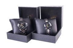 Watch in box on a background royalty free stock photo