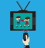 Watch boxing on TV Royalty Free Stock Photo