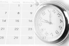 Watch on calendar. Page numbers Royalty Free Stock Photo
