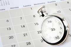 Watch on calendar Stock Photography