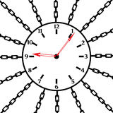 Watch in chains. A clock is chained up. It is a black and white vector Royalty Free Stock Photos