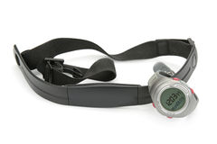 Watch and chest strap of heart rate monitor Stock Images