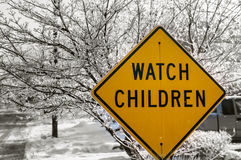 Watch Children Sign. In the winter Stock Images