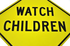 Watch for Children. Street sign for watch for children Royalty Free Stock Image