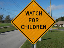 Watch For Children Warning Sign Royalty Free Stock Photo