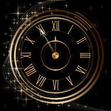 Watch with chimes and stars of gold. On a black background Stock Photos