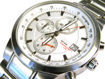 Watch clock. Silver timer selected closeup isolated Royalty Free Stock Photography