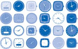 Watch or clock faces vector. Various watch or clock face vector illustrations in different shapes and tones of blue Stock Photos