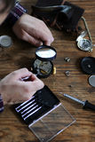 Watch clock repair retro concept working hard in a past Royalty Free Stock Image