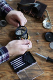Watch clock repair retro concept working hard in a past Stock Photography