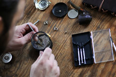 Watch clock repair retro concept working hard in a past Royalty Free Stock Photography