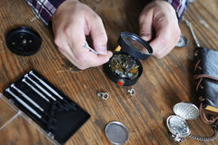 Watch clock repair retro concept working hard in a past Stock Images