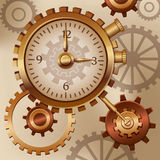 Watch and cogs steam punk. Steam punk background gears and cogs Stock Photos