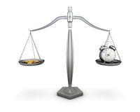 Watch and coins on the scales. 3d. Royalty Free Stock Photos
